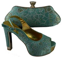 Cheap B8016 Water green Shoes And Bags African Shoes Matching Bag Set Nice Looking High Heels for lady dress.B8016 size 38-42