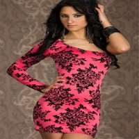 Wholesale One Shoulder Lady Dresses Sexy Women Clothes Pink And Black Slim Fit Nigh Club Dresses Polyester Fabric Flower Print Long Sleeves