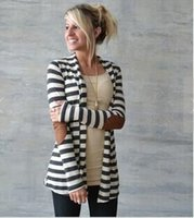 Wholesale Long Sweater Coat Sales - Women Sweater Cardigan Hot Sale Casual Loose Knit Waterfall Cardigan Long Sleeve Stripe Autumn Winter Sweater Jacket Coat new style free shi