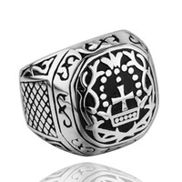 Wholesale Stainless Steel Mens Rings Square Vintage Pattern Silver Color Retention Fashion Jewelry S014