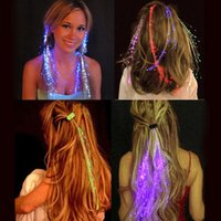 Wholesale Colorful LED Braided Hair Multicolored Fiber Flash Hairpin Girl Hair Glow For Party Christmas Halloween Night Lights Decoration