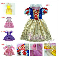 belle halloween costumes - Girls Kids Princess Tangled Rapunzel dress sleeping beauty belle Dress Snow White Dresses Children party christmas Cosplay Costumes GDZ01