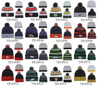 Wholesale New Pom Pom Beanies All Football Teams Beanies Fashion Skull Caps Mens Sports Beanies Cheap Warm Women Knitted Hats Brand Winter Beanie Hats