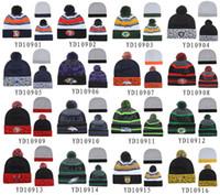 Wholesale Cheap Basketball Pom Beanies - New Pom Pom Beanies All Football Teams Beanies Fashion Skull Caps Mens Sports Beanies Cheap Warm Women Knitted Hats Brand Winter Beanie Hats