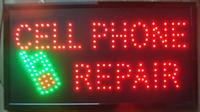 al por mayor x teléfono celular-2016 La venta caliente ultra brillante llevada de neón de la muestra de la célula del teléfono celular de la reparación reparó el tamaño abierto 19 x 10 pulgadas