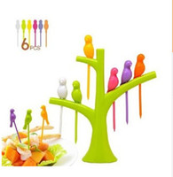Wholesale New Creative Tree Birds Design Plastic Fruit Forks Stand Forks Hot Sale Kitchen accessories