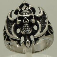 axe band - cool men boy fire skull carry axe cross L stainless steel ring