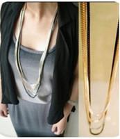 al por mayor collar de varios niveles-Suéter Accesorios punk collares de cadena del metal 2014 de los collares de la manera para T90718 joyería de las mujeres collar largo de varios niveles