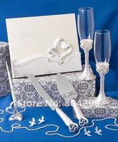 Wholesale cheap Unique heart design wedding guest book set decoration gifts