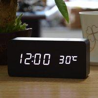 desktop wooden - 2015 Upgrade LED Alarm Clock despertador Temperature Sounds Control LED display electronic desktop Digital table clocks wooden Alarm Clock