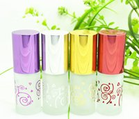 Wholesale 12pcs ML Bronzing Frost Glass Perfume Bottles with colorul Cap glass roll on Refillable Fragrance Deodorant spray bottle