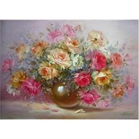 oil paint by numbers - Frameless Painting By Numbers DIY Digital Oil Painting Linen Canvas Christmas Gift Home Decoration40x50cm Impression FlowerWK220