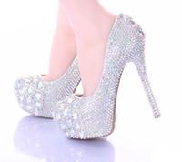 ab pump - 10 cm Stiletto Heel Wedding Shoes Luxury Sparkly AB Crystal Bride Formal Dress Shoes Platform Rhinestone Party Prom Heels