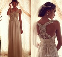 anna embroidery - 2015 Hot Long Wedding Dress Anna Campbell A Line Crew Beaded Applique Pleats Crystals Gorgeous Back Custom Made Chiffon Bridal Gowns