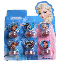 Wholesale 6 set Frozen Elsa And Anna Dolls Princess Toys Olaf Kristtof Seal Stamper Action Figure Toys For Boys Girls Children Hobby Kids Gifts