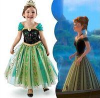 tiaras for kids - Girl Kids Short Summer Dress Heroine Princess Anna s Coronation Dress Tiara for Halloween Party Cosplay Fancy