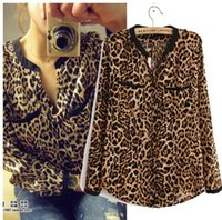sexy clothes - Women Sexy Leopard long sleeved V Neck chiffon shirt Casual Blouse Tops Women s Clothing