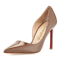 Cheap Latest Fashionable Pointed Toe Brown Color Woman Shoes Half Hollow Out Night Club Shallow Mouth Stiletto Heel 12cm Pumps Cheap Shoes Online