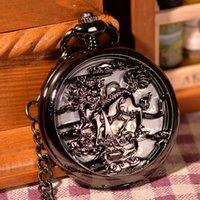 antique pattern glass - Antique Vine Retro FOB Pocket Watch With Chain The Kirin Pattern Pocket Watch Necklace Montre Mechanical Hand Wind Watch