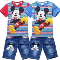clothing children - Summer boys clothing set mickey mouse cartoon cotton t shirt denim shorts pants suit baby boys clothes children outfits kids clothings