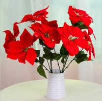 artificial flowers poinsettia - Small Artificial poinsettia flowers wreath party decoration real touch roses colors rose balls weddings wreath