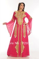 Wholesale 2014 New Hot Pink Dubai Farasha Moroccan Kaftan Abaya Jilbab Islamic Arabian Long Sleeve Evening Dress