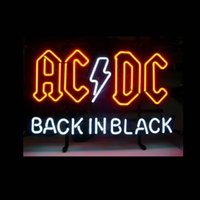 ac dc commercial - ac dc back in black neon sign real glass tube display beer bar handicraft signs light CLUB store