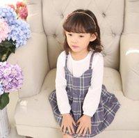 dress blue grace - Korean Spring Girls Dresses Long Sleeve Fask Suspenders Plaid Dress Grace Elegants Girl s Princess Dressy Yellow Blue J3895
