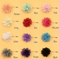 fabric flower pin - Mini Chiffon Flower Label Pins Fabric Flower On Silver Plated Laped Stick Pin With End Protenctor