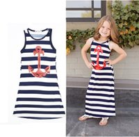 Wholesale 2016 Parent child Family Dress Blue and white stripes boat anchor dress Girls baby outfit vest dress cm cm C543