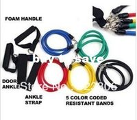 Wholesale Fitness Resistance Bands Exercise Tubes Practical Elastic Training Rope Yoga Pull Rope Pilates Workout Cordages a set X20