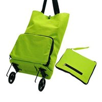 Wholesale High quality Green Convenient Dual Wheel Reusable Shopping Bags Oxford Cloth Rolling Folding extend Travel Bag