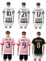 football set - Juventus home football kit POGBA away pink thai quality set short sleeve soccer jersey athletic outdoor apparel adult s sports tracksuit