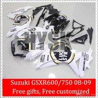 Precio de Suzuki gsxr750 fairing-Libre regalo ABS kits de carenado de plástico para Suzuki GSXR600 GSXR750 2008 2009 GSXR 600 750 08 09 k8 GSX-R600 GSX-R750 Blanco Negro Lucky Strike