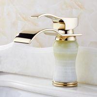 ceramic art basin - Newly Art Bowlder Jade Bathroom Basin Faucet Brass Mixer Tap Golden Waterfall Faucets L B