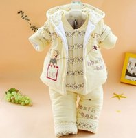 baby jacket pink winter girl - 2014 new arrive newborn baby girl Bodysuits the winter kids clothes for infant boys padded jacket three set warm outerwear