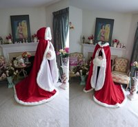 Actual Images hooded cloak - Winter Bridal Cape Dark Red and White Satin Faux Fur Hooded Wedding Cloak Two tone Chapel Train Wedding Wraps with Hood
