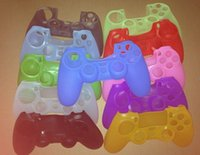 Wholesale Hot selling For PS4 Controller Silicone Protective Case Pure Color Red Pink Green Via DHL Shipping