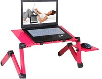 Wholesale Laptop Bed Table Adjusting Tablet PC Stands Notebook Folding Tray Table with Cooling Fan Heat Sink Black Red Color Portable Bed Table
