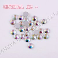 Nail Art rhinestones ab round - SS3 SS30 Shine Glass Material Round Loose Clear Crystal AB Non Hotfix Nail Art Rhinestones Glass Glue on Flatback Strass