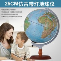Wholesale 12 Inches LED Geography Earth World Globe Nation Star Mountain Landscape Map Globe Light Metal Wood Base Home Office Decorations Lamp