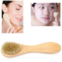 Wholesale 2015 New Wooden Bristle Face Body Exfoliating Cleaning Facial Wash Brush Skin Care Makeup Beauty Tools