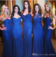 Cheap Mermaid Bridesmaid Dresses 2015 Blue Tulle Sweetheart Sleeveless Backless Zipper Pleats Ruched Floor Length Party Evening Gowms Cheap Spring