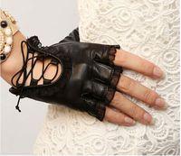 Wholesale WARMEN gloves fashion lady spring new mittens lace sheepskin leather gloves women half finger gloves