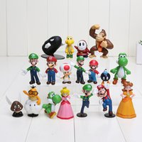 Wholesale 500set new Super Mario Bros PVC Figure topper Super Mario nds Luigi Peach yoshi DHL