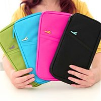 Wholesale 100pcs Colorful Travel Wallet Passport Ticket ID Credit Card Holder Cover Case Organiser Bags handbag