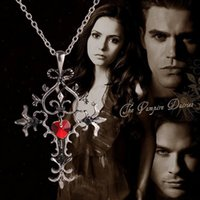 american white power - 2016 New US Film Jewelry Hot Selling Vintage Style Vampire Diaries Red Sacred Heart Memorial Cross Pendant Necklaces ZJ