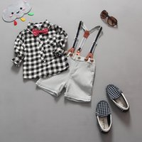 boy set - Baby Boys piece set British style grid bow shirt suit Denim overalls suits fashion Europe style boys set