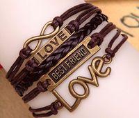 bestfriend charms - Men Women Surfer Tribal Wrap Multilayer Genuine Leather Cuff BESTFRIEND LOVE infinity Bracelet