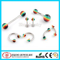 piercing - Body Piercing Rasta Body Jewelry Barbell Belly Ring Lip Piercing Eyebrow Ring Horseshoe Mixed Style of